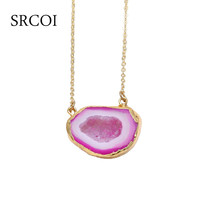 Natural Agate Druzy Crystal Pendant  Gold Plated Amethyst Geode Pendant Necklace Fashion Jewelry