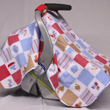 Boy Quilt Patchwork Baby Car Seat Canopy, Football, Baseball, Boat, Train, Kite, Rocking Horse, Red, Blue Brown, Baby Boy, Baby Shower