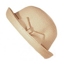 Time Traveler Straw Bowler Hat with Bow in Natural | Sincerely Sweet Boutique