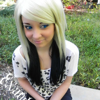 ON SALE / Platinum Princess / Blonde and Black / Long Straight Layered Wig
