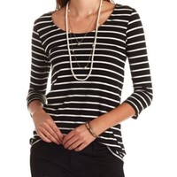 Striped Zipper-Back High-Low Top by Charlotte Russe - Black Combo