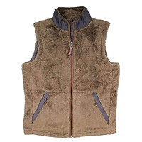 Luxe Double Plush Full Zip Vest in Olive by True Grit