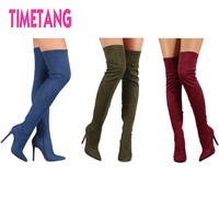 Christmas/New Year Gift Suede Elastic High Heel Thigh High Boots Women's Pointed Toe Sexy Over The Knee Winter Boots 35-43