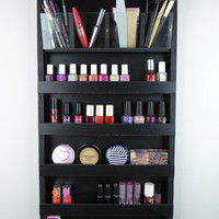 Black Make up organizer storage - pencil-brush-lipstick holder Nail polish rack display - wall hanging - plexiglass