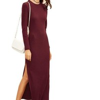COLROVIE Winter Dresses for Women European Style Women Fall Dresses Burgundy Long Sleeve High Slit Ribbed Dress