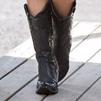 Corral Ladies' Black Patent Scroll Boots - Women's