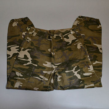 Vintage Camouflage Army Surplus Military Unisex Trousers Cargo Pants W31 L29