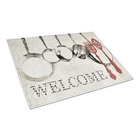Pots and Pans Welcome Glass Cutting Board Large Size SB3087LCB