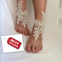 Ivory, White, Pink, Blue, Champagne, Black Bridal Barefoot Sandals, Beach Wedding, Foot jewelry, Bridesmaid Gift, Bridal Lace Shoes
