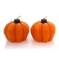 Halloween PUMPKIN CANDLES SET / 2 Wax Fall Harvest Thanksgiving Ta220