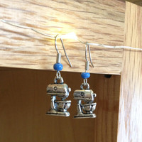 Retro Stand Mixer Earrings - Handmade, SIlver Tone, Kitchen Charm, Cooking Lovers, Chef, Food, Kitcheny, Kitchen Aid, Baking, Baker, Dangle