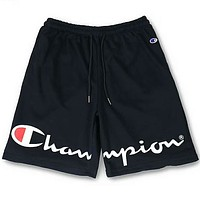 Champion men and women couple classic print letters cotton terry shorts F-Great Me Store Black