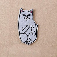 1Pcs Cat with The Finger Patch Iron on Sewing Applique Clothes Shoes Bags Decoration Patch Apparel DIY Patches