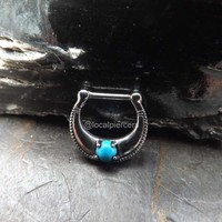 """Turquoise Nose Ring 16g Septum Piercing Gemstone Hinged 5/16"""" Helix Daith Clicker Body Jewelry 