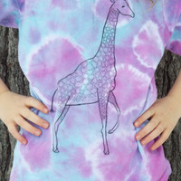 Custom Giraffe Shirt, Giraffe Tshirt, Funny Animal Tshirt, African Animals, Womens Tie Dye Shirt, OOAK Tshirt, Giraffe Art Shirt, Fun Tshirt