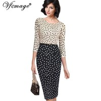 Vfemage Womens Autumn Elegant Vintage Polka Dot Contrast Belted Patchwork Casual Wear To Work Office Sheath Pencil Dress 2850