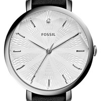 Women's Fossil 'Jacqueline' Round Leather Strap Watch, 36mm - Black/ Silver