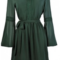Fall For You Bell Sleeve Hippie Chic Dress in Forest Green