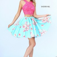 Sherri Hill 32245 Two-Piece Lace Crop Top Polka Dot Skirt Side Pocket