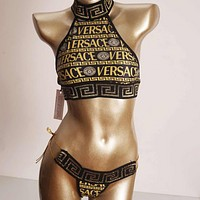 Versace Black gold Split swimsuit