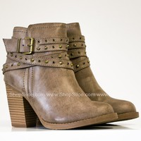 Roxy Studded Taupe Booties