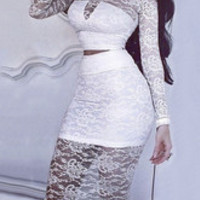 Sexy Two Piece Lace Floral Crop Top Elastic Waist Pencil Skirt Bodycon Dress Set White