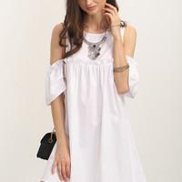 White Cold Shoulder Ruffle Shift Dress
