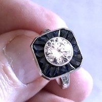 3.60ct Round Diamond Engagement Ring Art Deco GIA certified F-SI JEWELFORME BLUE