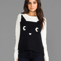 PJK Patterson J. Kincaid Meow Pullover Sweater in Charcoal/Ivory