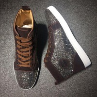 DCCK Cl Christian Louboutin Rhinestone Mid Strass Style #1909 Sneakers Fashion Shoes
