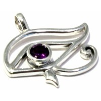 Faceted Amethyst Pendant Egyptian Eye of Horus Necklace