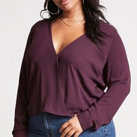 Plus Size Chiffon Surplice Top