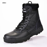 Military leather boots for men Combat army shoes