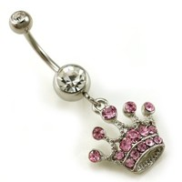 Light Pink Tiara Crown Dangle Belly Button Ring Navel Body Fashion Jewelry 14 Gauge