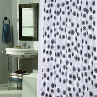"""New Year's Fireworks Vienna Desing Fabric Shower Curtain with Poly Taffeta Flocking in Black/White Size: 70"""" x 72"""""""