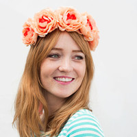 Coral Orange Flower Crown, Coral, Peach, Flower Headband, Boho, Hippie Headband, Festival Style 2015, Floral Crown, Bridesmaids Gift, Roses