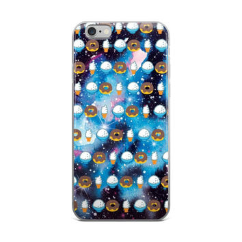 Ice Cream & Donuts Emoji Collage In Space Universe Galaxy Cute Girly Girls iPhone 4 4s 5 5s 5C 6 6s 6 Plus 6s Plus 7 & 7 Plus Case