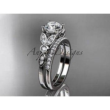 14k white gold diamond unique engagement ring set, wedding ring ADLR387S
