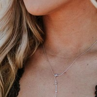 North Star Dainty Lariat Necklace - Silver