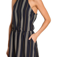 Navy Chevron Striped Romper-FINAL SALE