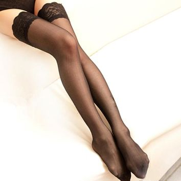 New Girls Sexy Black White Red Nylon Silk Stockings Long Silk Stocking Sexy Lace Stockings For Women
