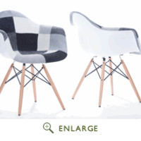 Baxton Studio Lia White and Black Patchwork Mid-Century Style Dining Chair DC-311(P5) (Set of 2)