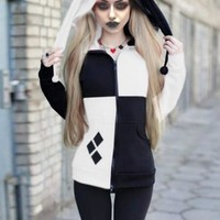 New Black-White Patchwork Pockets Harley Quinn Cosplay Cardigan Casual Hooded Sweatshirt