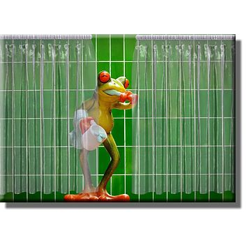 Frog Brushing Teeth Bathroom Picture on Stretched Canvas, Wall Art Décor, Ready to Hang