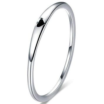Kingray Jewelry Stainless Steel Heart Shaped Wedding Band Promise Statement Stackable Ring 10