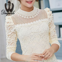 Plus size Lace shirt long-sleeved Beaded Gauze Women lace blouse shirt Slim ladies Sexy Floral lace Tops