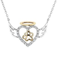 ASPCA(R) Tender Voices® Two-Tone Diamond Angel Heart and Paw Pe...