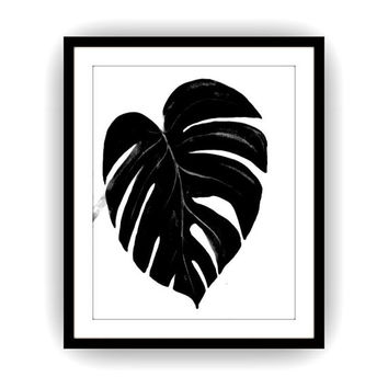 Monstera leaf sillhoutte, Printable Wall decor,tropical decals, painting, watercolor illustration,minimalist, tree leafs,