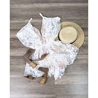 Final Sale - Babes in Paradise Peek-a-Boo Floral Romper - Ivory/Nude