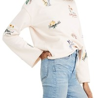 Madewell Botanical Embroidered Bell Sleeve Sweatshirt | Nordstrom
